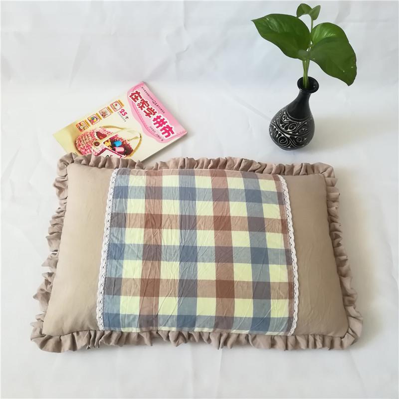Plaid and Plain Rectangular Pillow