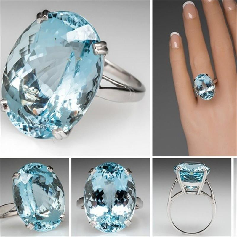 Oval Sky Blue Crystal Ring
