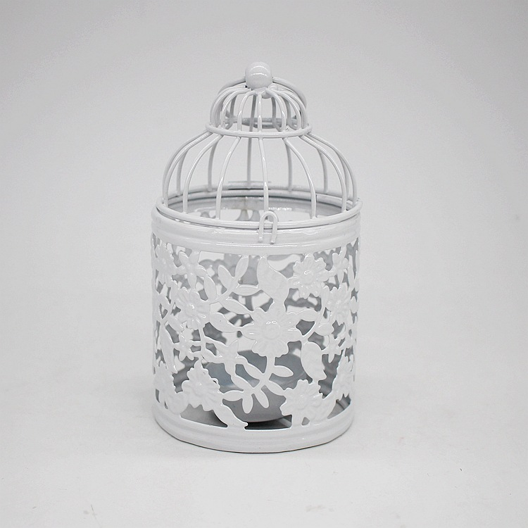 Stylish Metal Birdcage with Ornate Design for Holding Candles
