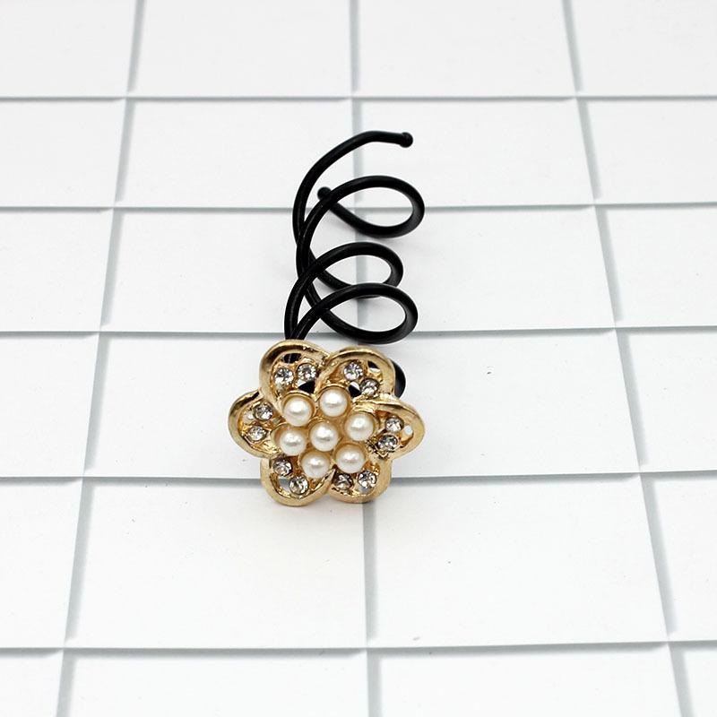 Rhinestone Camellia Spiral Hair Clip