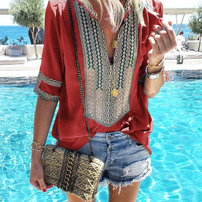 Bohemian Deep V-Neck Polyester Top for Summer Wear