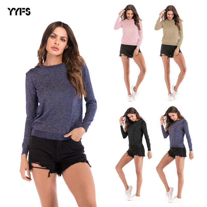 Pure Color Knitted Long Sleeve Sweater Top for Winter Wear