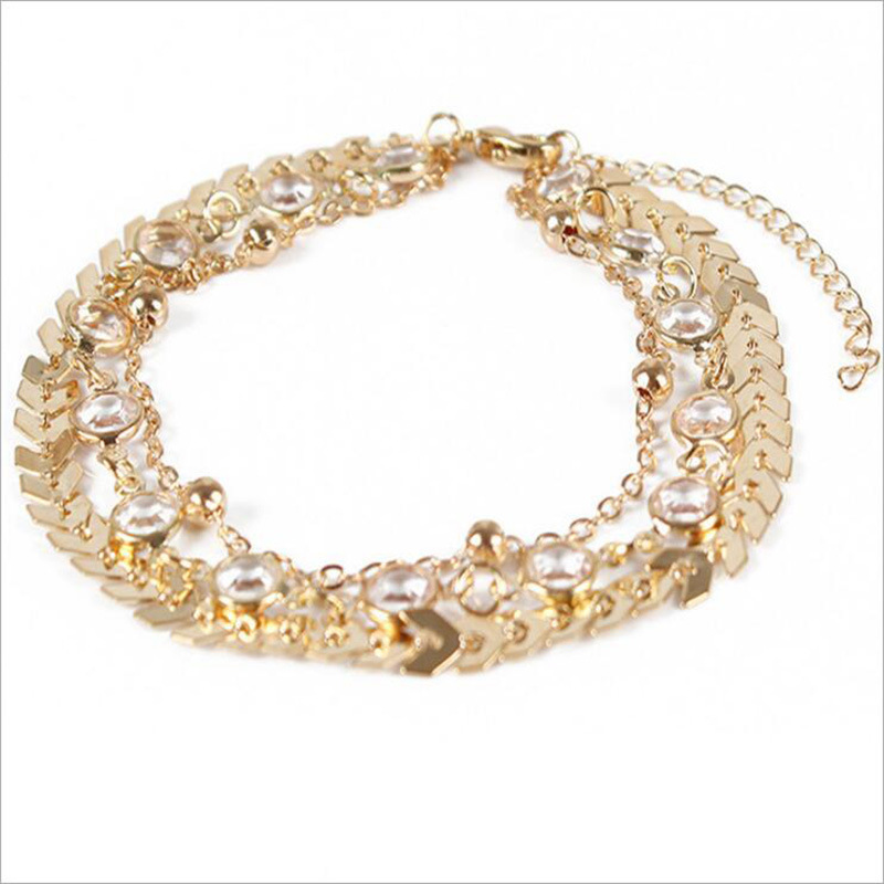 Alia Golden Anklet Set (3 Pieces/Set)