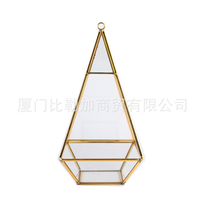 Transparent Glass and Golden Copper Outlines Gemstone-Inspired Case for Terrariums and Flower Arrangements