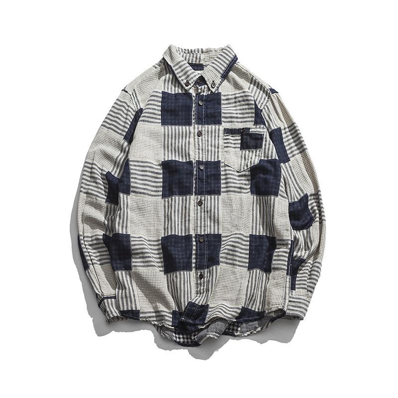 Hong  Kong Style Men's Plaid Lattice Jacket for Spring Fashion