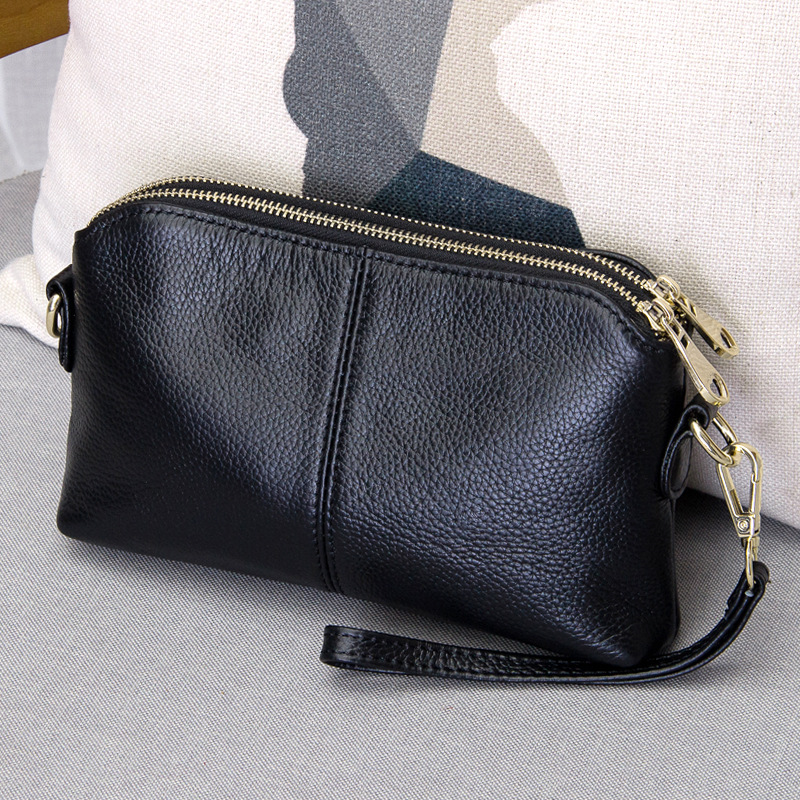 Smooth Leather Clutch Handbag for Shopping