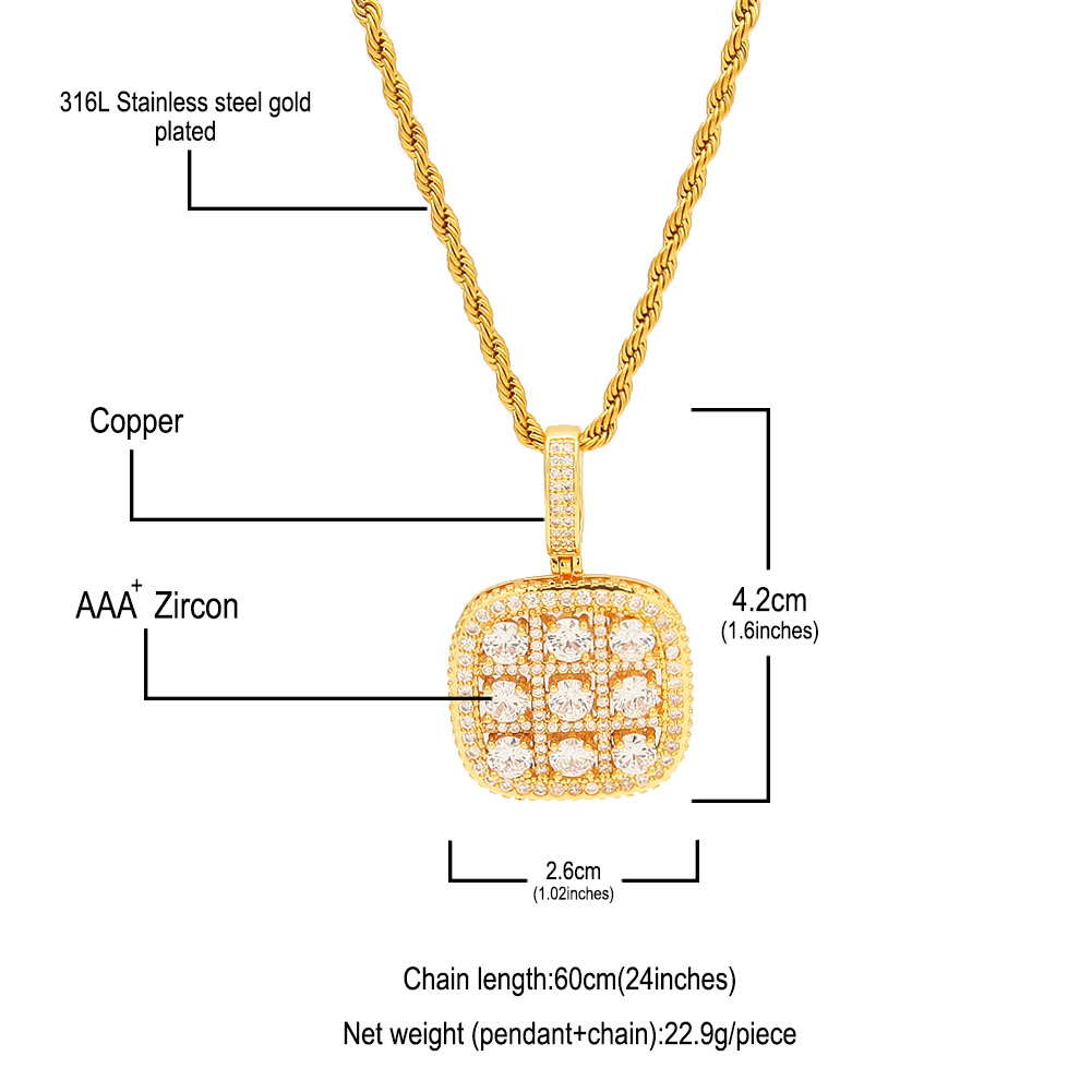 Nine Grid Faux Crystal Pendant Necklace for Fancy Outfits