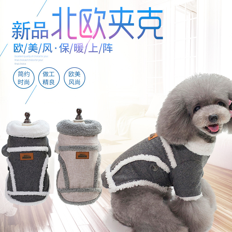 Thick and Cotton Dog Button-Up Coat for Winter Season