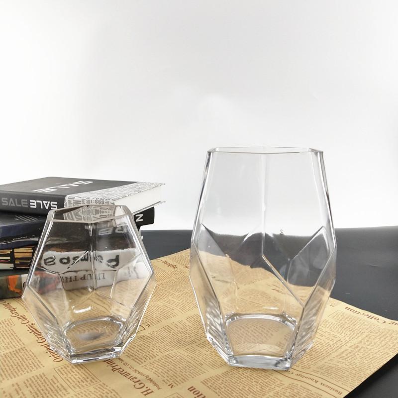 Geometric Shape Transparent Glass Vase for Desktop Decoration