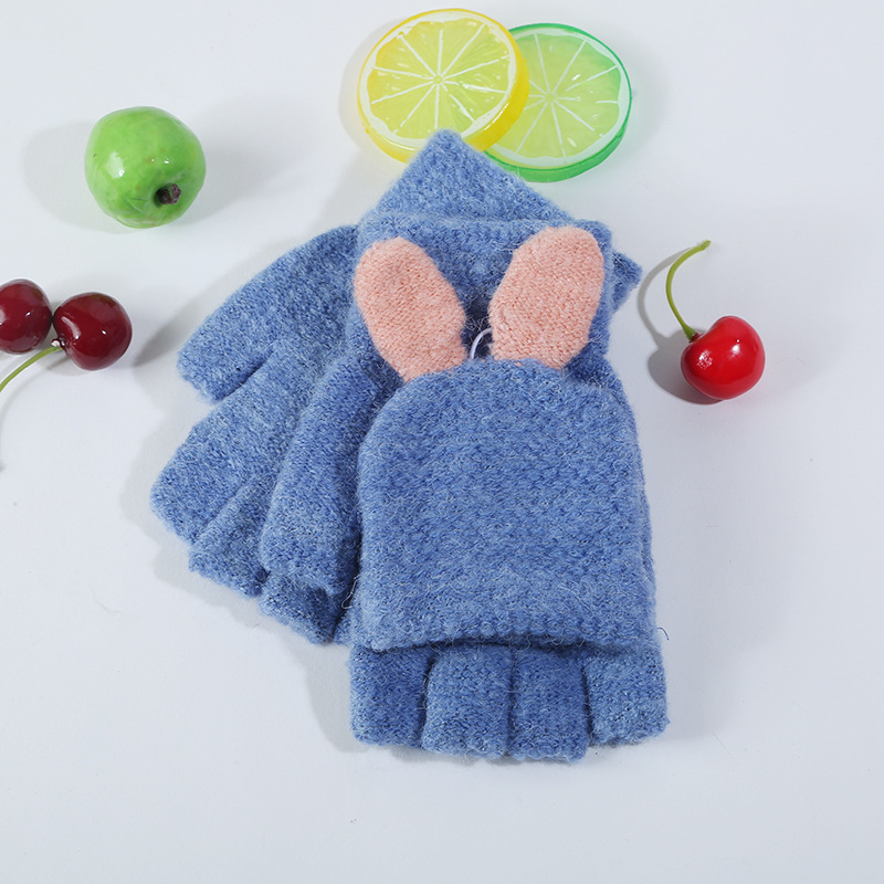 Cute Ladie's Half Finger Reversible Clamshell Knitted Gloves Better Gifts for Birthdays