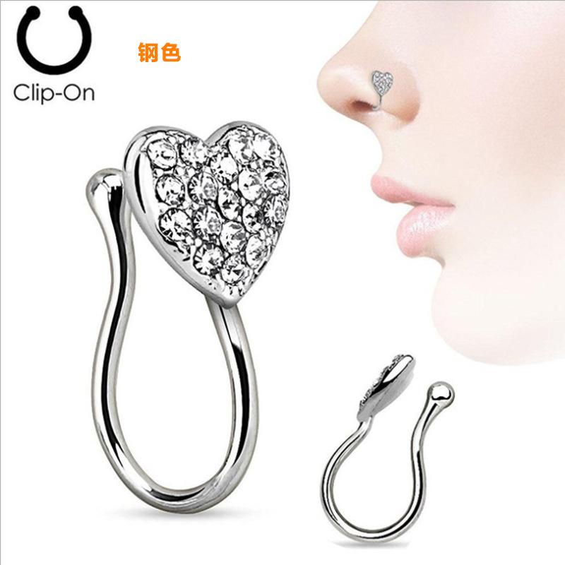 Steel Diamond Heart Nose Ring for Modern Looks