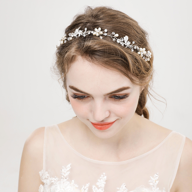 Minimalist Silver Faux Pearl Floral Tiara Headpiece for Fancy Wedding Hairstyle
