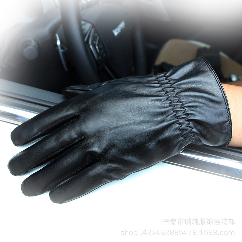 Glossy Faux Leather Gloves for Motorcycle Riders