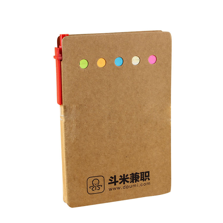 Kraft Paper Notebook with Sticky Notes for Efficient Office Supplies