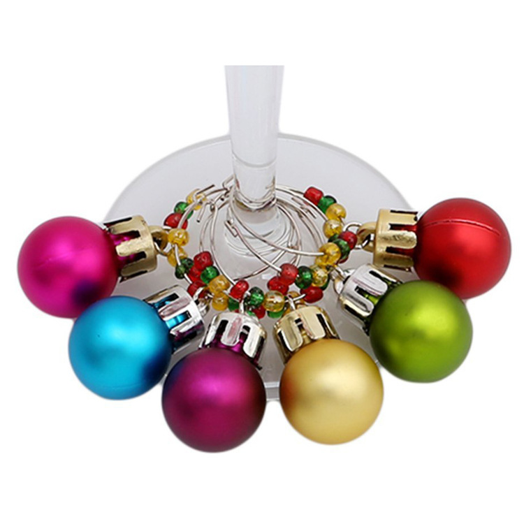Colored Christmas Ball Pendant for Wine Glass Ornaments