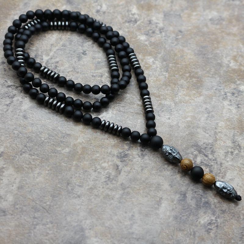 Unique Black Bead Sculpture Necklace for Gift