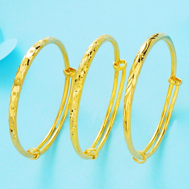 Imprinted Adjustable Gold Bangle