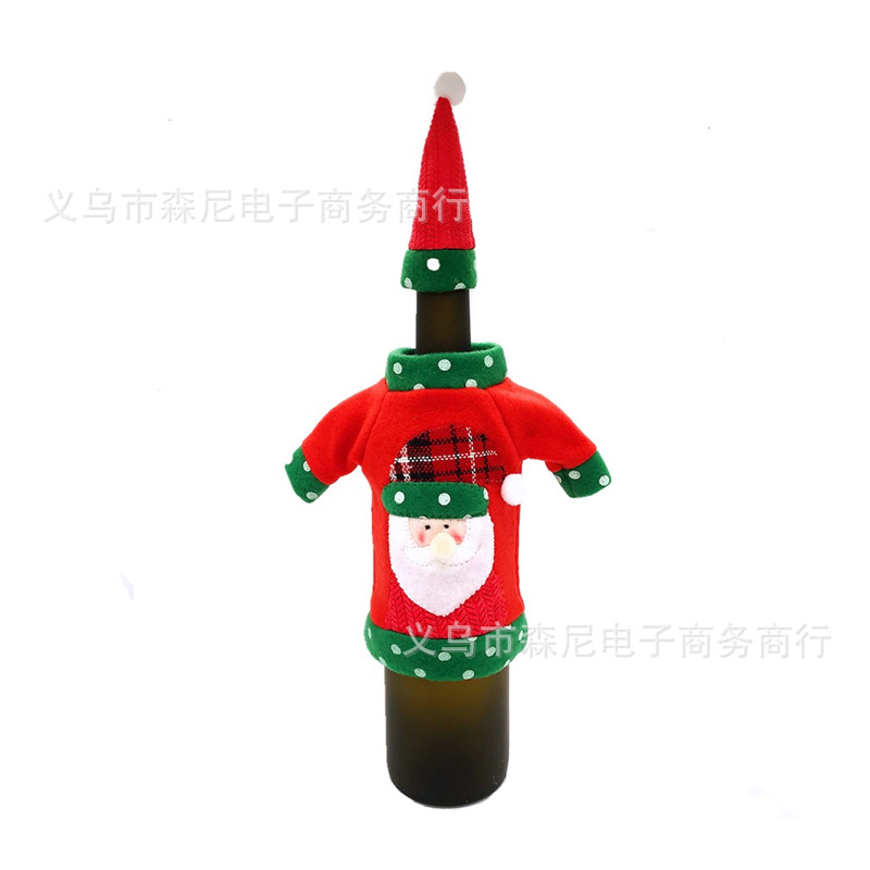 Christmas Sweater and Hat Outfit for Bottle Decor