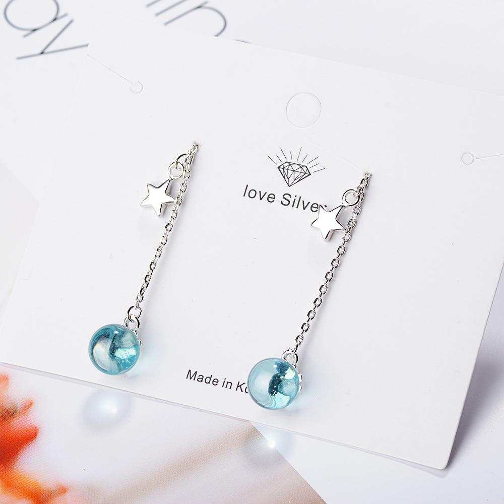 Blue Crystal Ball and Star Drop Earrings