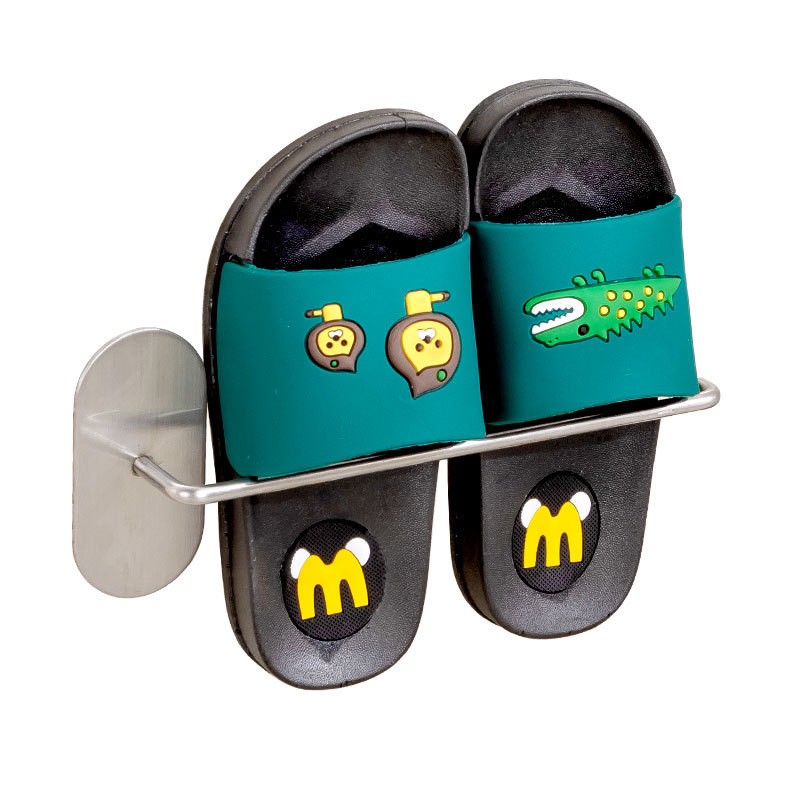 Simple Stainless Steel Wall-Mounted Rack for Storing Slippers