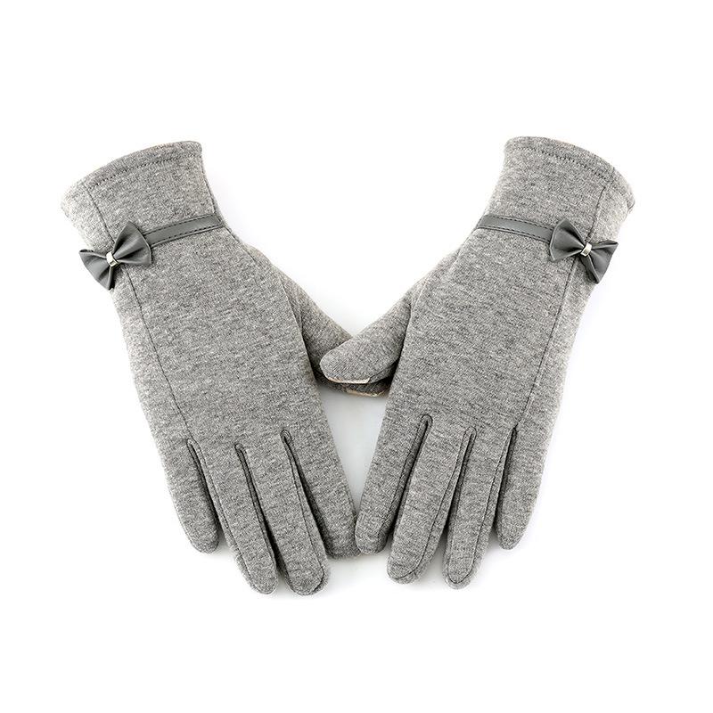 Solid Color Plus Velvet Gloves for Women