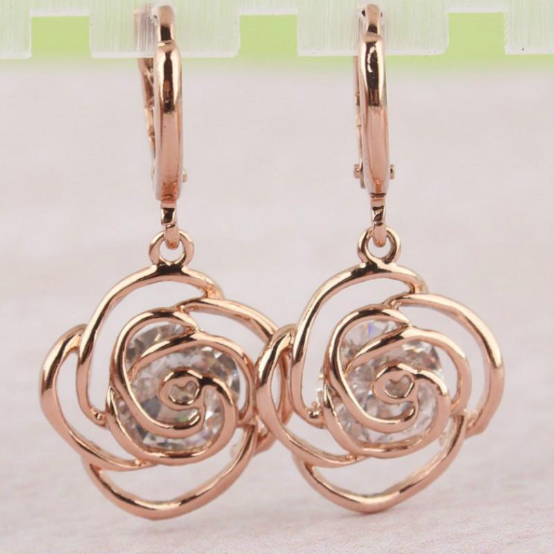 Rose Gold Plated Rose Dangle Earrings