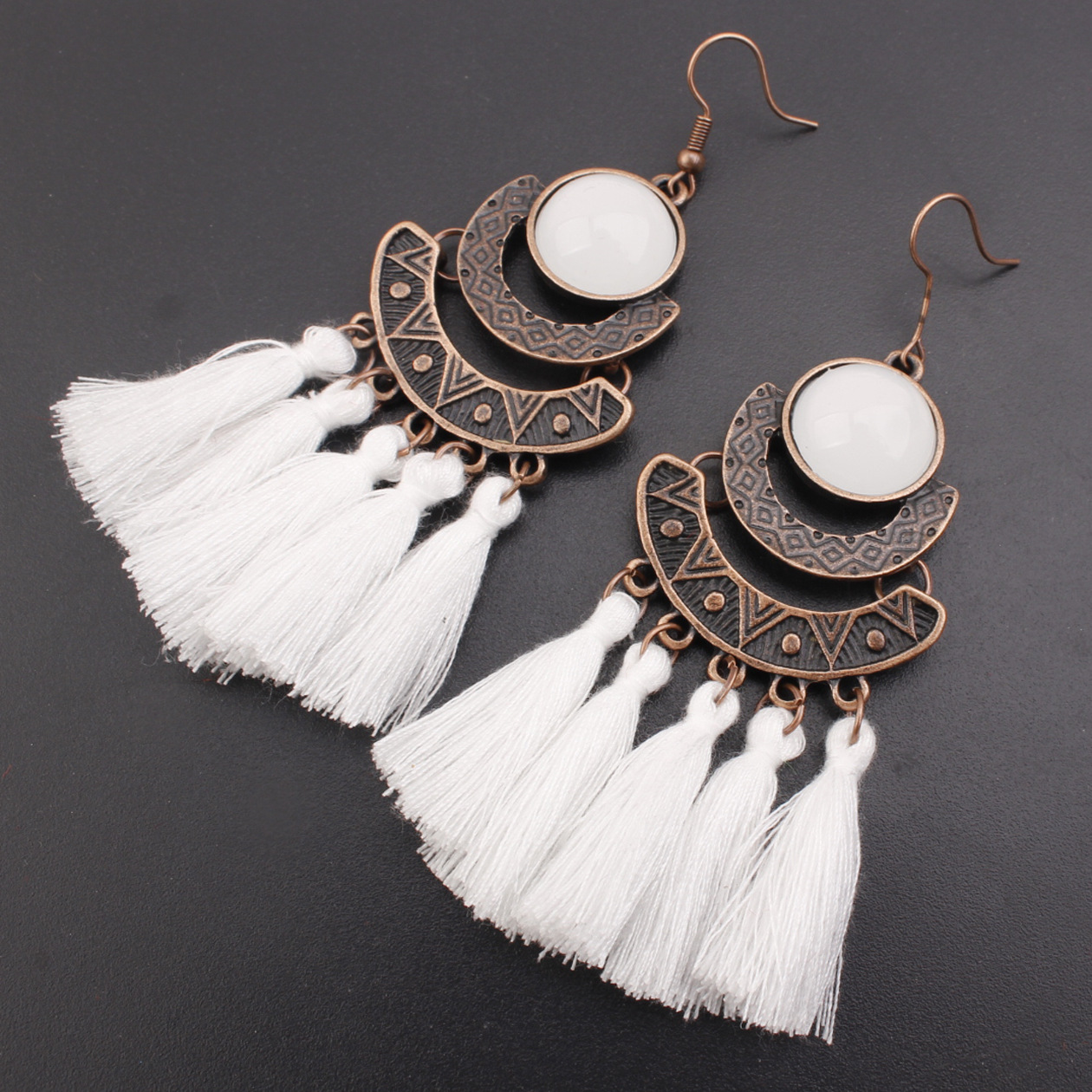 Bohemian-Inspired Colored Tassel Fish Hook Earrings for Boho-Chic Accessories