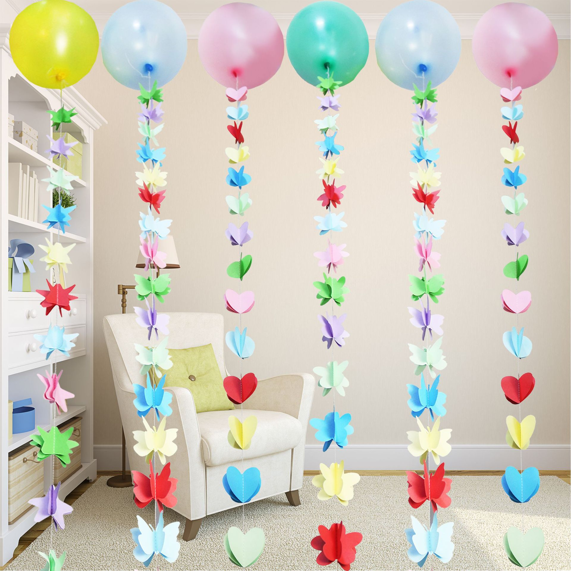 Adorable Fun Colorful Balloon with Decor for Indoor Birthday Parties