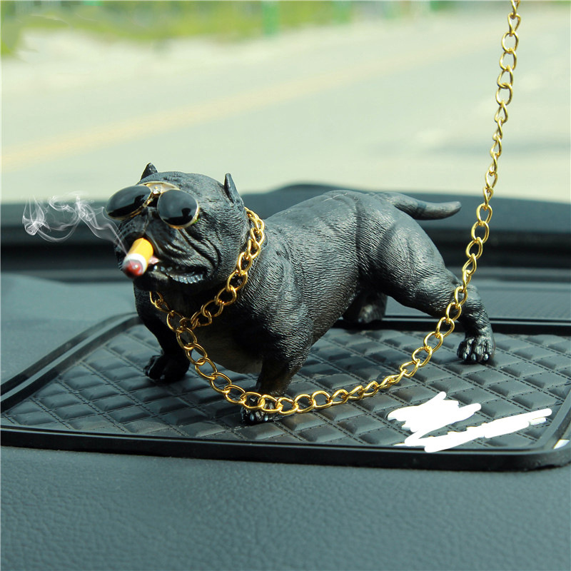 Gangsterish Chained Bulldog Decor for Your Cool Car
