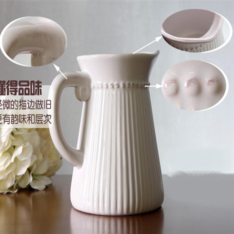 Vintage Ribbed Pitcher Porcelain Vase for classic Home Display