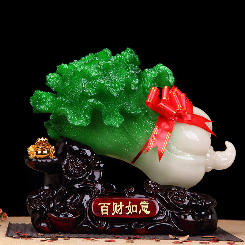 Lucky Resin Cabbage Figurine for Hotel Lobby
