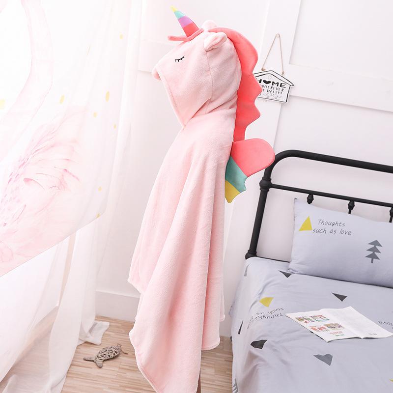 Unicorn Hoodie Polyester Fiber Wearable Blanket for Girls