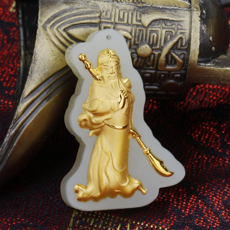 Lord Guan in White Jade Pendant