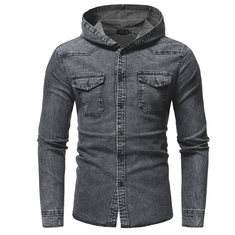 Trendsetting Denim Buttoned Jacket with Hood for Cold Weather