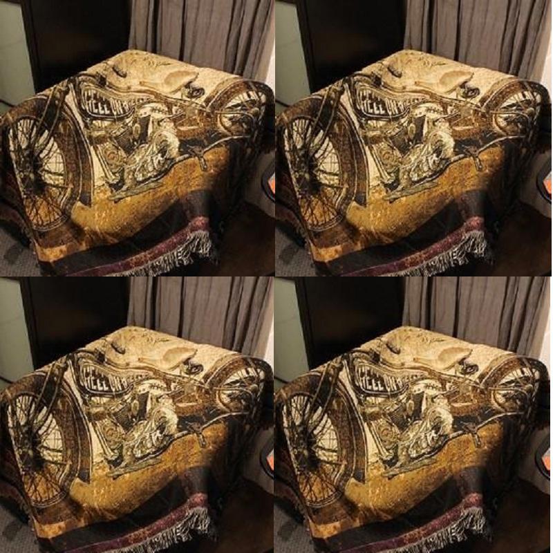Vintage Motorcycle Sofa Blanket