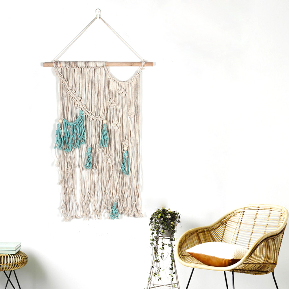 Fine Woven Tapestry White and Blue Cotton Wall Art Decor for Old-Fashioned Homes