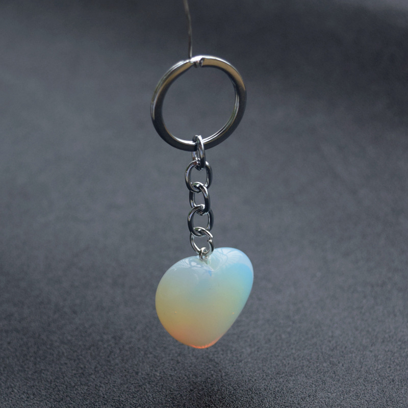 Healing Stone Heart Keychain Charm