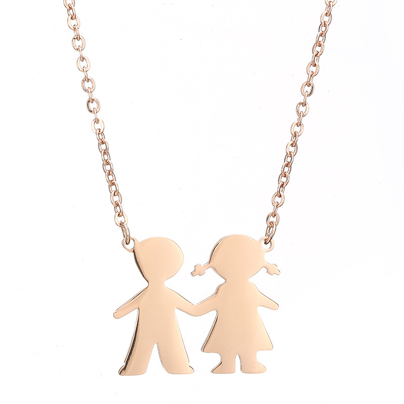 Suave Holding Hands Couple Necklace for Appreciation Tokens