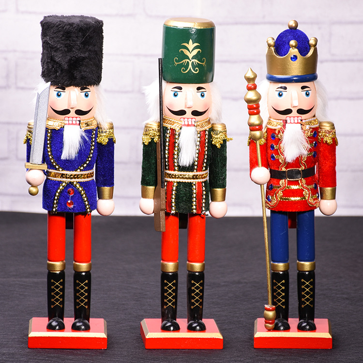 38CM Christmas Soldier And King Puppet In Solid Wood  For Christmas Decoration