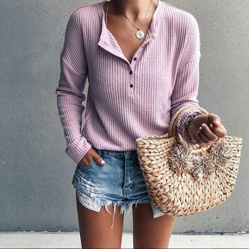 High-Quality Fabric Buttoned Long Sleeve Top for Casual Style