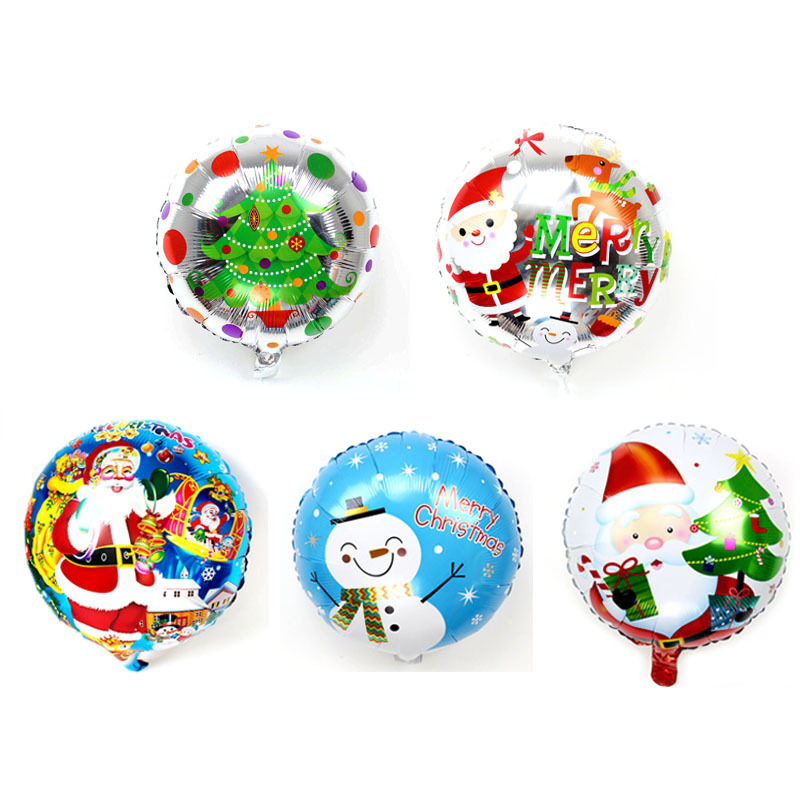 Metallic Round Printed Balloons for Celebrating Christmas at Home