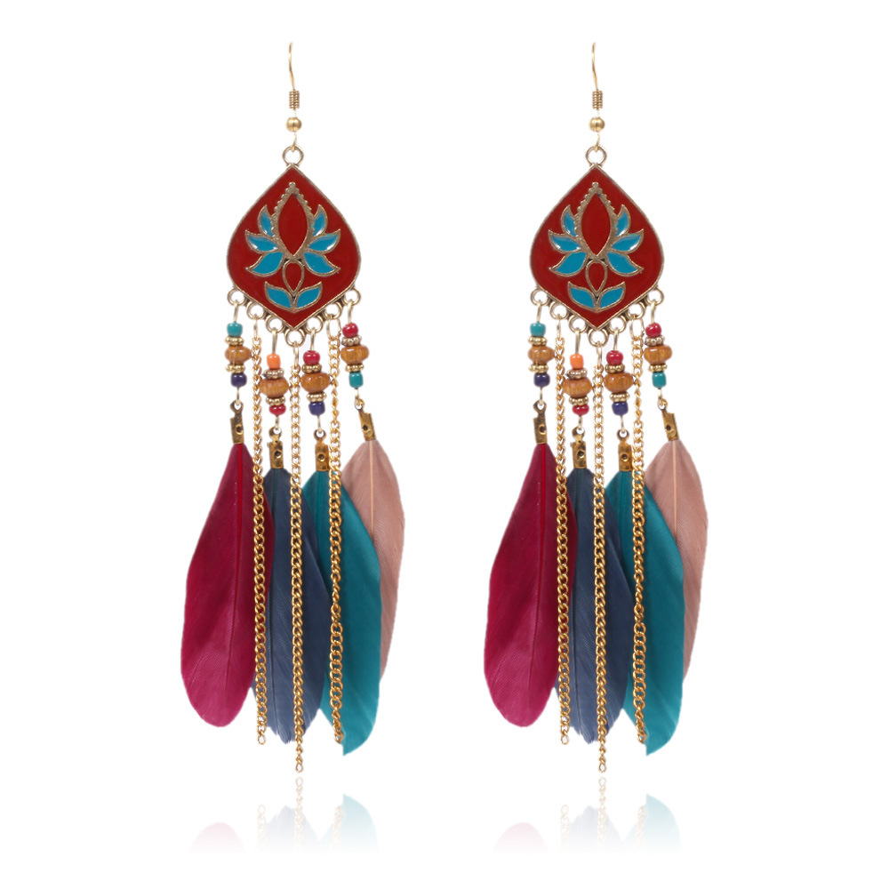 Artistic Lotus Flower Embossed Synthetic Feather Tassel Design Fish Hook Earrings for Modish Urban Fashions