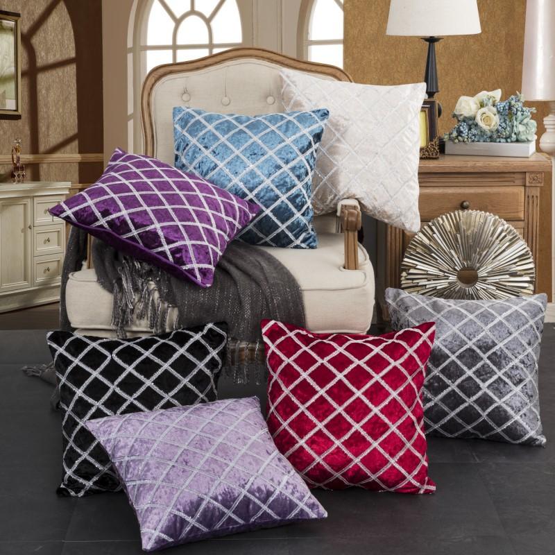 Diagonal Striped Velvet Pillowcase for Dining Chair Pillows