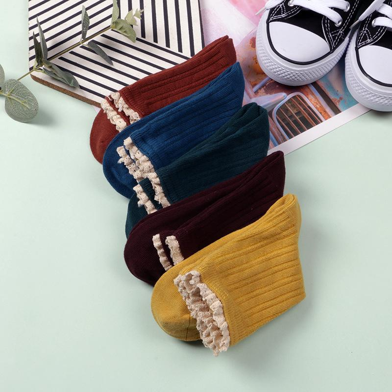 Basic Ruffle-Cuff Socks (10 Pairs/Set)