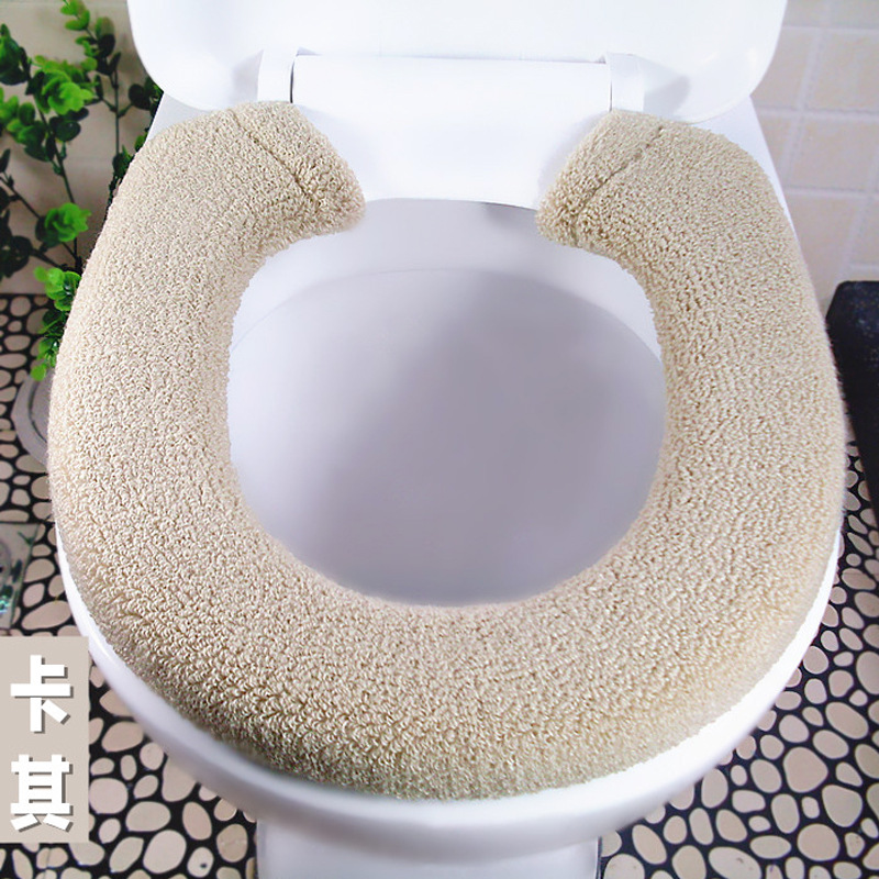 Plush Solid Colored Toilet Seat Cover for Keeping the Seats Warm