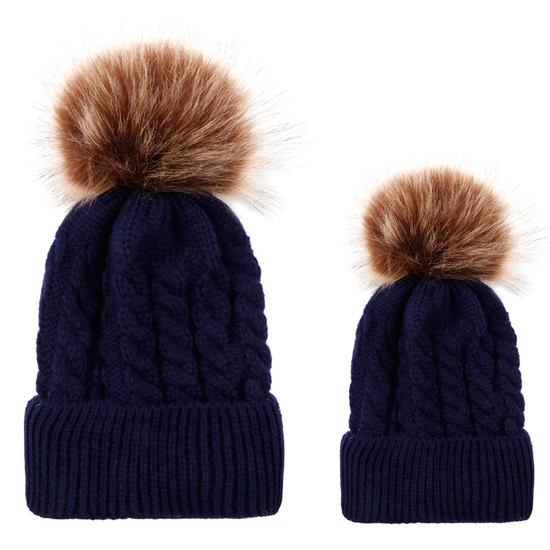 Parent and Child Faux Fur Pom and Wool Beanie