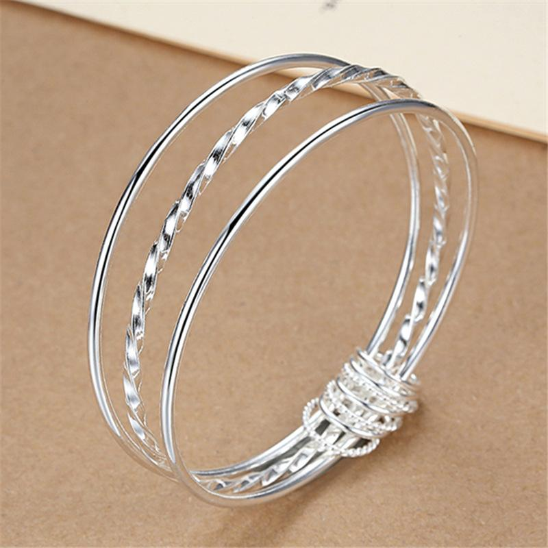 Silver Plated Classy Triple Layer Bracelet