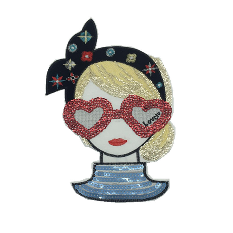 Lovely Sequin Heart Glasses Girl Patch for Dressing Up Bags