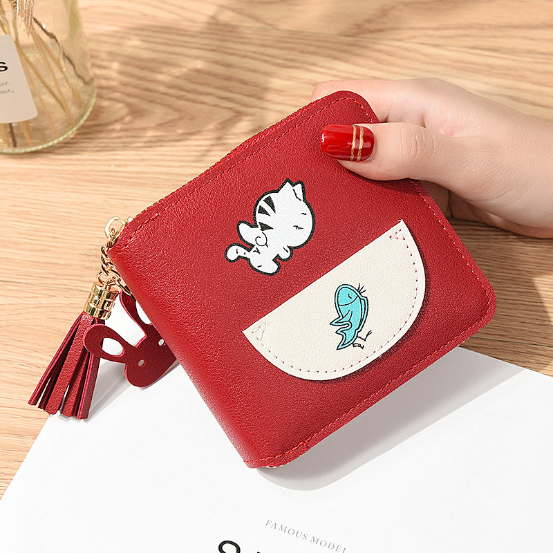 Adorable Cat and Fish Wallet for Girls