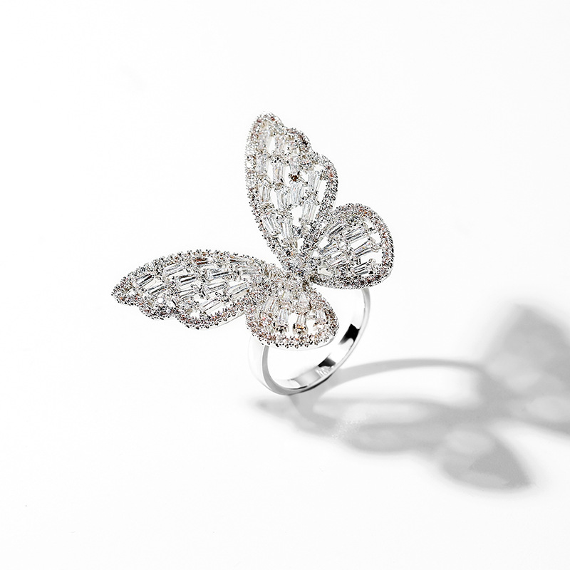 Large Crystal Butterfly Adjustable Ring